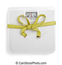 libra, cinta, dieta, escala, medida