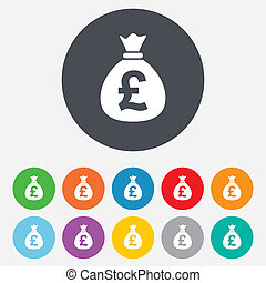 libra, dinheiro, currency., sinal, saco, gbp, icon.