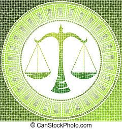 libra - Element air: libra zodiac sign on a mosaic, vector...