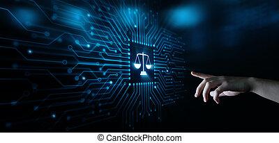libra, escalas, advogado, em, lei, negócio, legal, advogado, tecnologia internet
