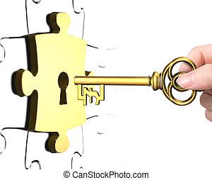 libra, fechadura, símbolo, mão, tecla, pedaço, abertos, quebra-cabeça
