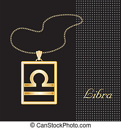Libra Gold Necklace - Gold embossed horoscope symbol,...