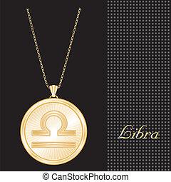 Libra Gold Pendant Necklace - Gold engraved horoscope...