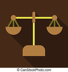 libra icon with shadow in flat style