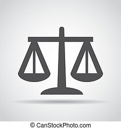 Libra icon with shadow on a gray background. Vector illustration