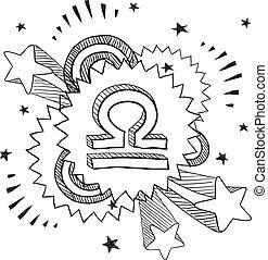 libra, knallen, astrologie, symbool