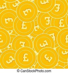 libra, pattern., británico, seamless, coins, impresionante