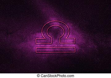 Libra zodiac sign, night sky,?Horoscope Astrology background,?Libra horoscope symbol