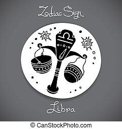 Libra zodiac sign of horoscope circle emblem in cartoon style.