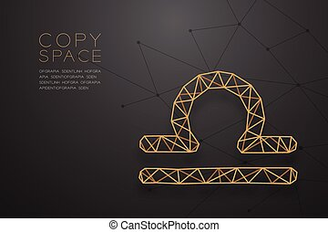 Libra Zodiac sign wireframe Polygon golden frame structure, Fortune teller concept design illustration isolated on black gradient background with copy space, vector eps 10