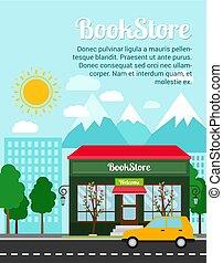 librairie, bannière, publicité