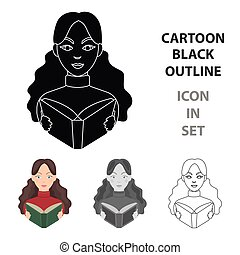 Librarian icon in cartoon style isolated on white background. Library and bookstore symbol stock vector illustration.