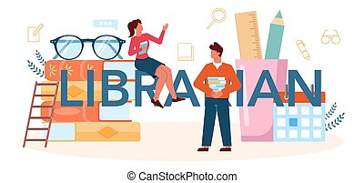 Librarian typographic header. Library staff lending out and ...
