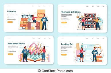 Librarian web banner or landing page set. Library staff ...