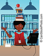 Cute African-American woman librarian balancing a stuck a book on her head in a library at her desk, vector illustration