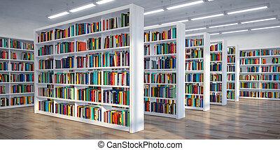 library., achtergrond, van wit, bookshelves, met, boekjes , en, textbooks., leren, en, opleiding, concept.