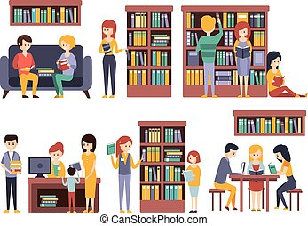 Library And Bookstore With People REading Choosing Books