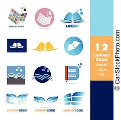 Library book logo icon set