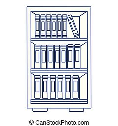 library book shelf drawing in white background vector ...