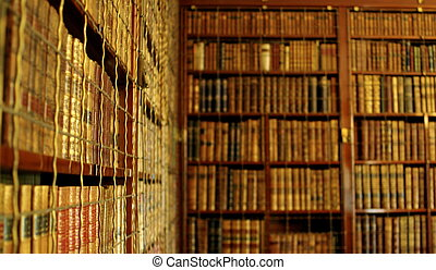 Library Bookcases - Full shot of old fashioned wooden ...