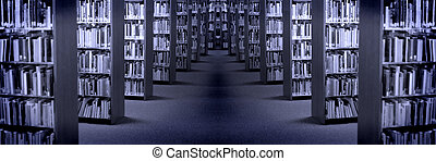 Rows of Shelves of Books in a Library