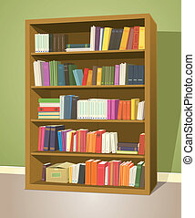 Library Bookshelf - Illustration of a cartoon home or school...