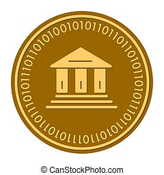 Library Building golden digital coin icon. Vector style. gold yellow flat coin cryptocurrency symbol. isolated on white. eps 10