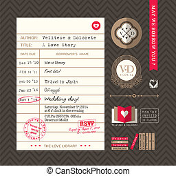 Library card Idea Wedding Invitation design