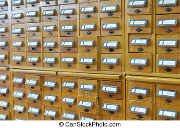 Library catalog - Card index boxes in a library catalog