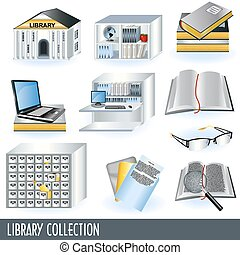 Library collection - Collection of 10 different library icon...