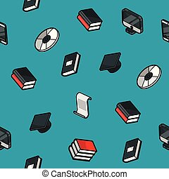 Library color outline isometric pattern
