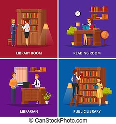 Library Concept Flat