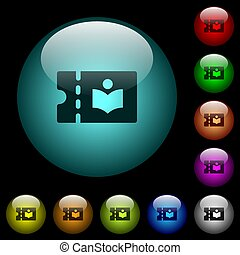 Library discount coupon icons in color illuminated glass...