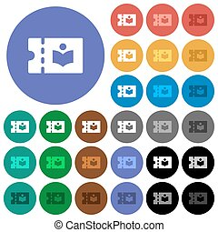 Library discount coupon round flat multi colored icons -...