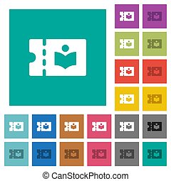 Library discount coupon square flat multi colored icons -...