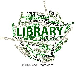 Library - Abstract word cloud for Library with related tags...