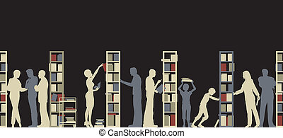 Library - Editable vector silhouette of people in a library