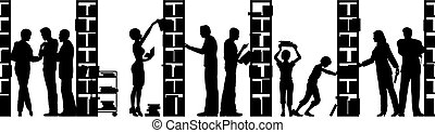 Library - Editable vector silhouette of people in a library...
