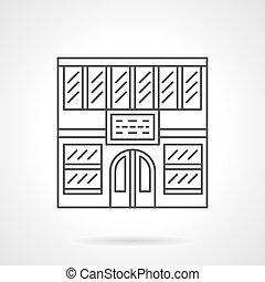 Library facade flat line vector icon