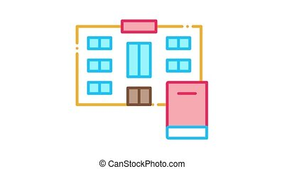 library Icon Animation. color library animated icon on white background
