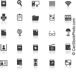 Library icons with reflect on white background