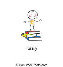 library., illustration.