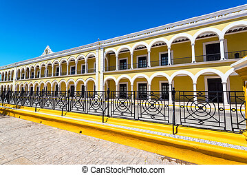 Nice yellow colonial library in Campeche, Mexico