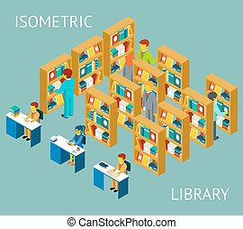 Library in isometric flat style. People among bookshelves. ...
