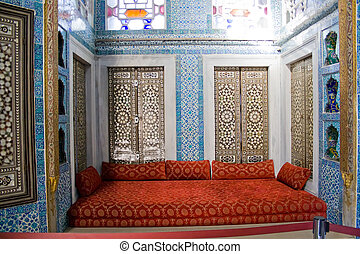 Library in Istanbul Palace - The sofa of Library in Topkapi...