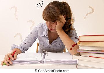 library., indstudering, kvinde, unge, læsning