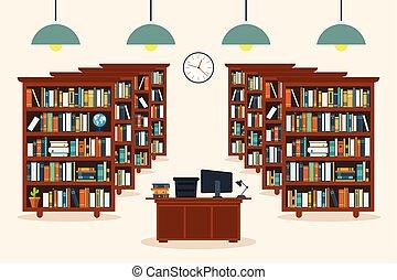 Library interior. Education concept. Vector illustration in flat design.
