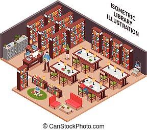 Library Isometric Illustration