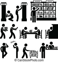 Library Librarian Bookstore Student - A set of pictograms...