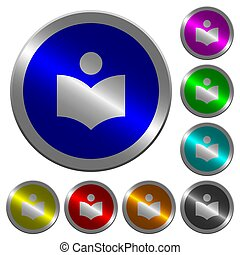 Library luminous coin-like round color buttons